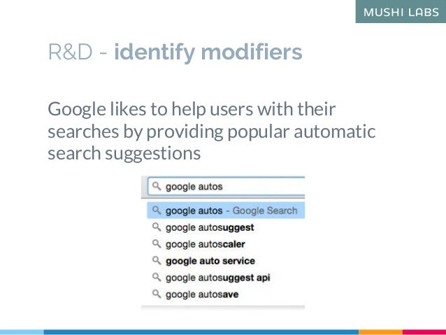 R&D - identify modifiers Google likes to help users with their searches by providing popular automatic search suggestions