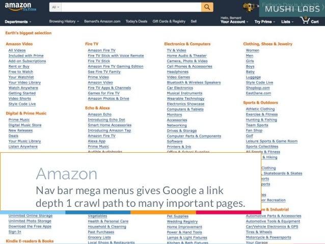 Amazon Nav bar mega menus gives Google a link depth 1 crawl path to many important pages.