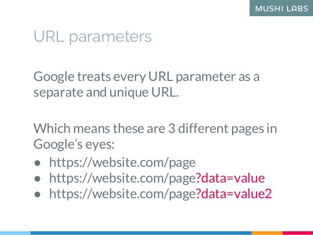 URL parameters Google treats every URL parameter as a separate and unique URL. Which means these are 3 different pages in ...
