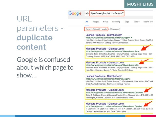 Google is confused about which page to show… URL parameters - duplicate content