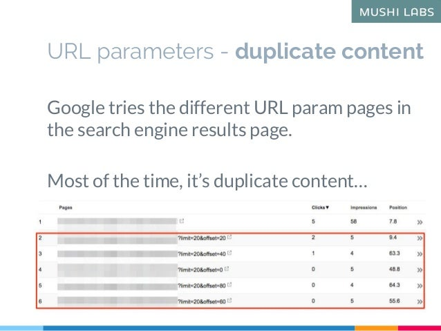 Google tries the different URL param pages in the search engine results page. Most of the time, it's duplicate content… UR...