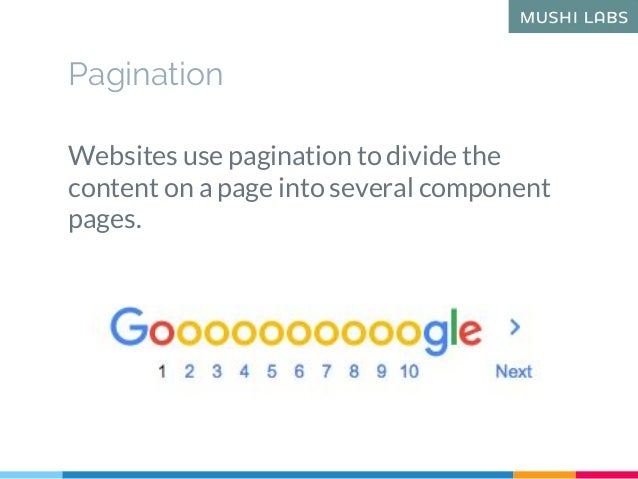 Pagination Websites use pagination to divide the content on a page into several component pages.