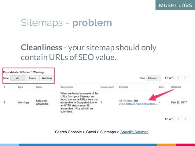 Sitemaps - problem Cleanliness - your sitemap should only contain URLs of SEO value. Search Console > Crawl > Sitemaps > S...