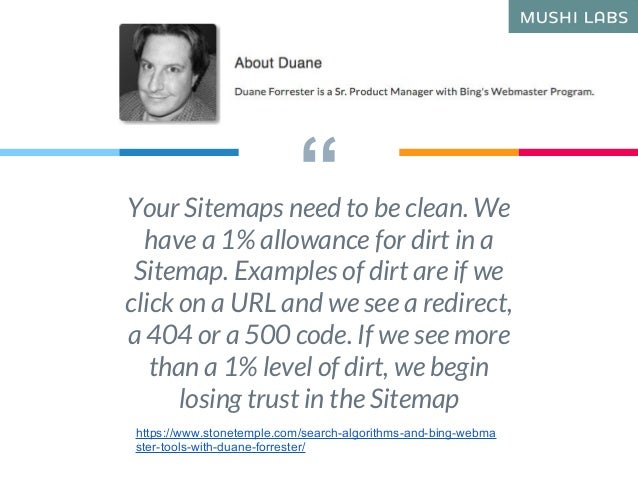 """""""Your Sitemaps need to be clean. We have a 1% allowance for dirt in a Sitemap. Examples of dirt are if we click on a URL a..."""