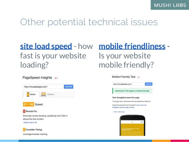 Other potential technical issues site load speed - how fast is your website loading? mobile friendliness - Is your website...