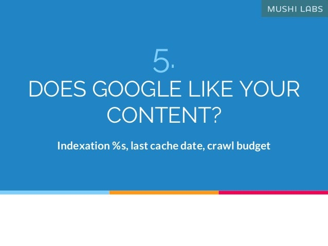 5. DOES GOOGLE LIKE YOUR CONTENT? Indexation %s, last cache date, crawl budget