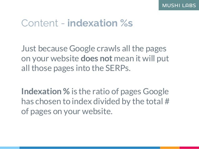 Content - indexation %s Just because Google crawls all the pages on your website does not mean it will put all those pages...