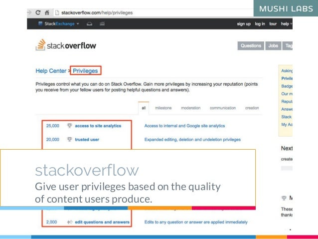 stackoverflow Give user privileges based on the quality of content users produce.
