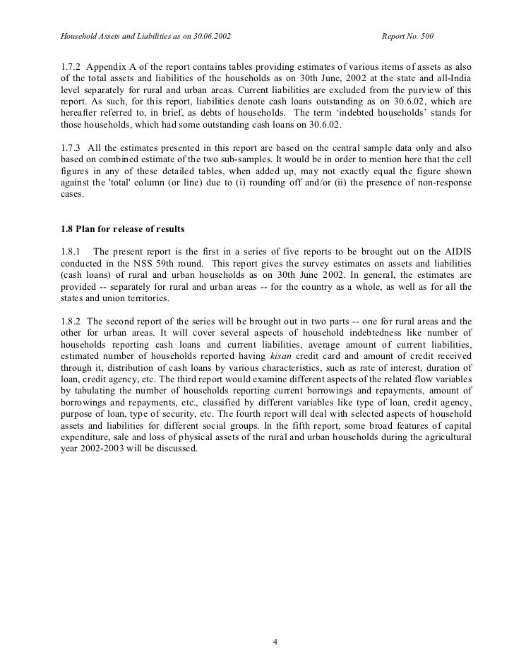 Household Assets and Liabilities as on 30.06.2002                                Report No. 5001.7.2 Appendix A of the rep...
