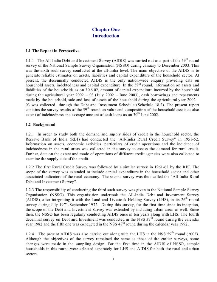 Chapter One                                       Introduction1.1 The Report in Perspective1.1.1 The All-India Debt and In...