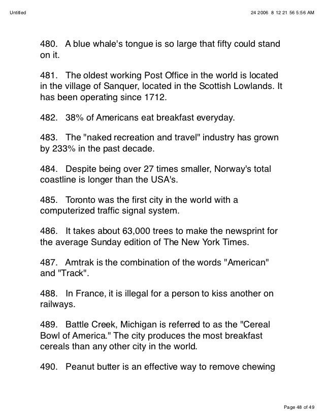 500 interesting facts