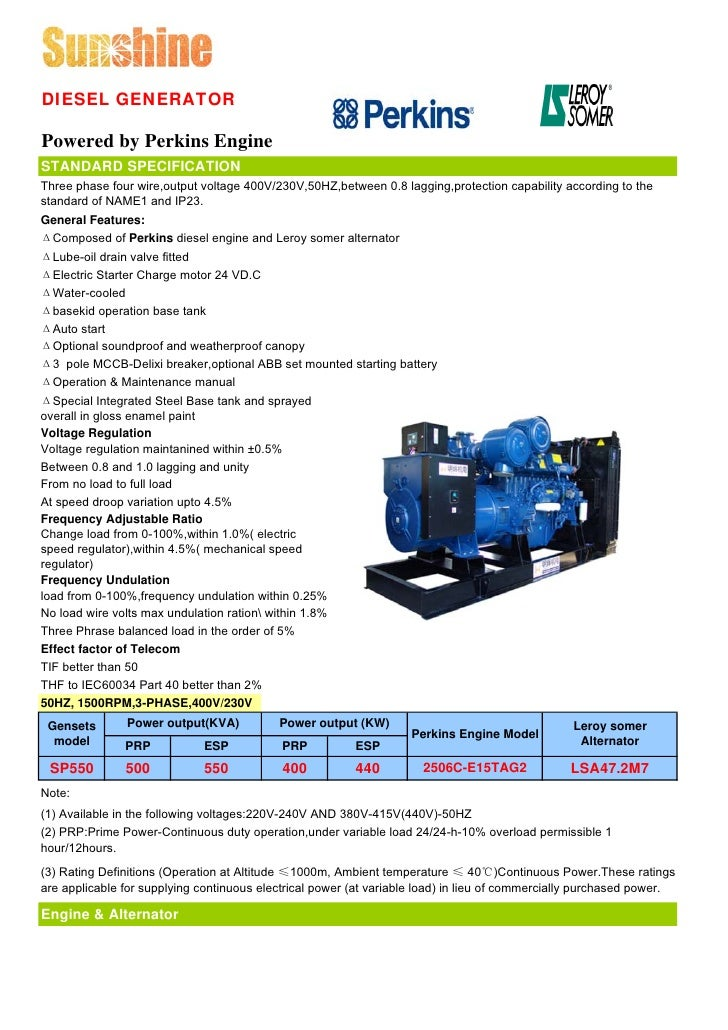 500kva uk perkins generator sets with leroy somer data sheet