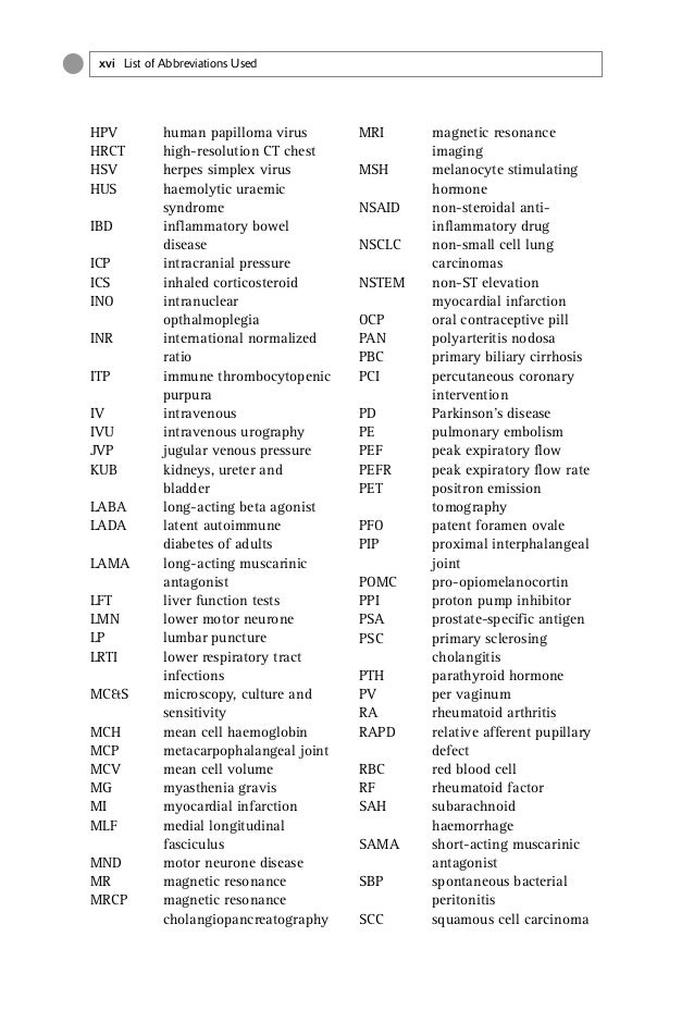 List of Abbreviations Used xvii SIADH syndrome of inappropriate anti-diuretic hormone SLA soluble liver antigen SLE system...