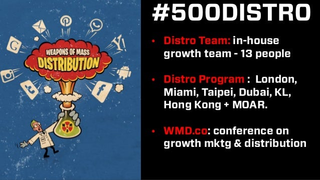 #500DISTRO • Distro Team: in-house growth team - 13 people • Distro Program : London, Miami, Taipei, Dubai, KL, Hong Kong ...