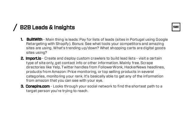 B2B Leads & Insights/ 1. BuiltWith - Main thing is leads: Pay for lists of leads (sites in Portugal using Google Retarget...