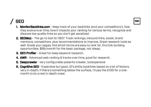 SEO/ 1. MonitorBacklinks.com - Keep track of your backlinks (and your competitors!), how they evolve over time, how it im...
