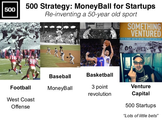 "Football West Coast Offense Baseball MoneyBall Basketball 3 point revolution Venture Capital 500 Startups ""Lots of little ..."