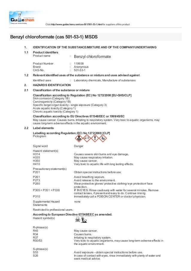 Click http://www.guidechem.com/cas-501/501-53-1.html for suppliers of this productBenzyl chloroformate (cas 501-53-1) MSDS...