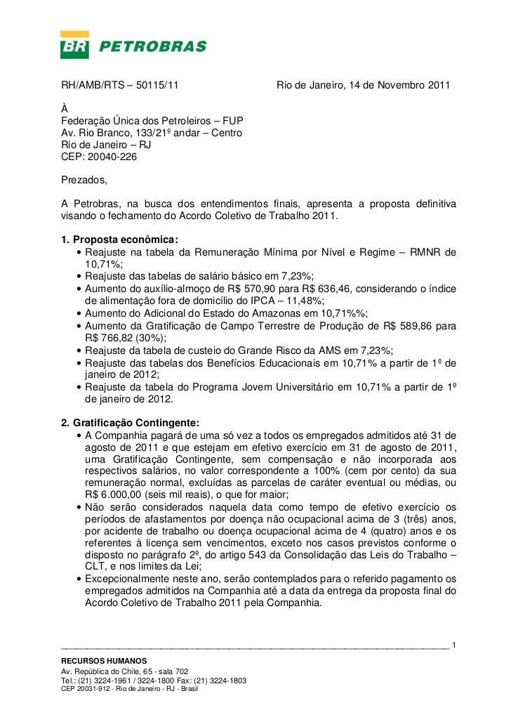 RH/AMB/RTS – 50115/11                                  Rio de Janeiro, 14 de Novembro 2011ÀFederação Única dos Petroleiros...