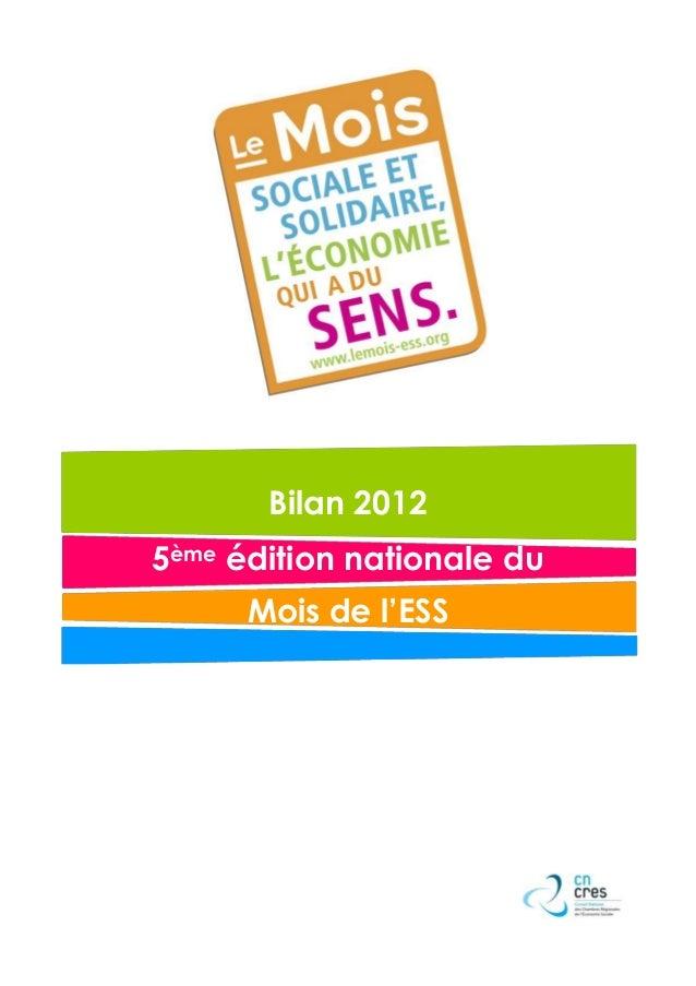 Bilan 20125ème édition nationale du      Mois de l'ESS