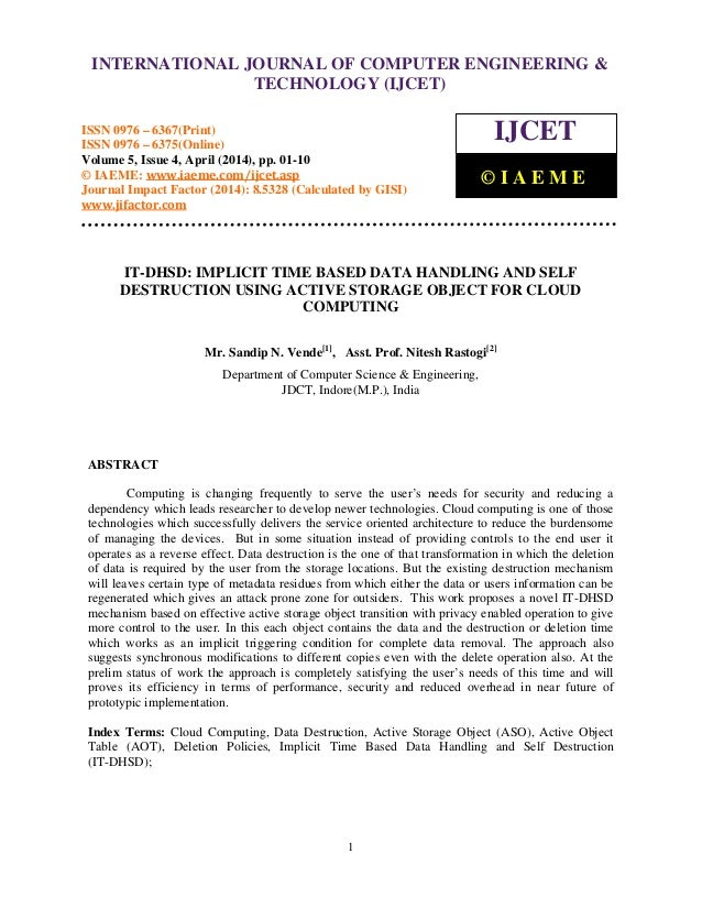 International Journal of Computer Engineering and Technology (IJCET), ISSN 0976-6367(Print), ISSN 0976 - 6375(Online), Vol...