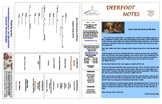 DEERFOOTDEERFOOTDEERFOOTDEERFOOT NOTESNOTESNOTESNOTES May 1, 2020 WELCOME TO THE DEERFOOT CONGREGATION We want to extend a...