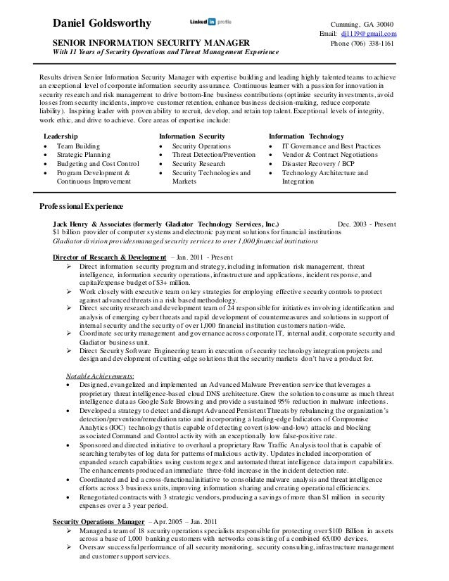 daniel goldsworthy professional resume daniel goldsworthy cumming ga 30040 email dj1119gmailcom senior information security - Security Professional Resume