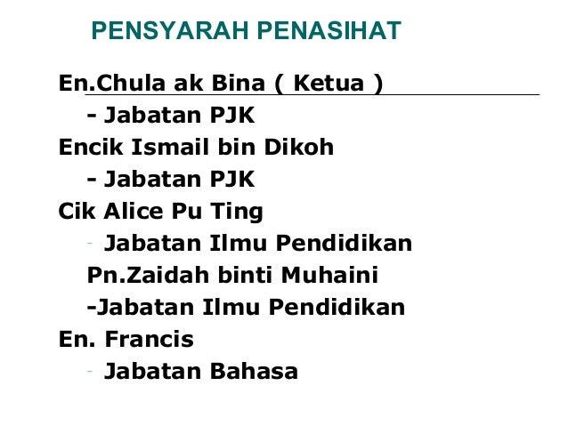 PENSYARAH PENASIHATEn.Chula ak Bina ( Ketua )  - Jabatan PJKEncik Ismail bin Dikoh  - Jabatan PJKCik Alice Pu Ting  - Jaba...
