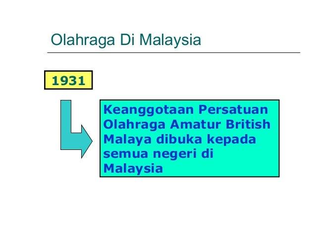 Olahraga Di Malaysia1931       Keanggotaan Persatuan       Olahraga Amatur British       Malaya dibuka kepada       semua ...
