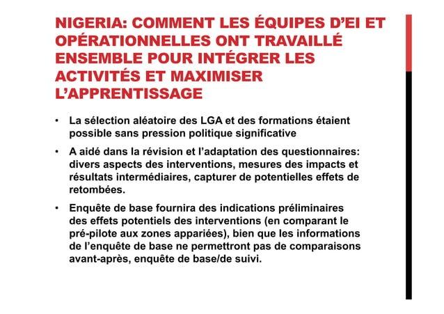 NIGERIA: COMMENT LES ÉQUIPES D'EI ET OPÉRATIONNELLES ONT TRAVAILLÉ ENSEMBLE POUR INTÉGRER LES ACTIVITÉS ET MAXIMISER L'APP...