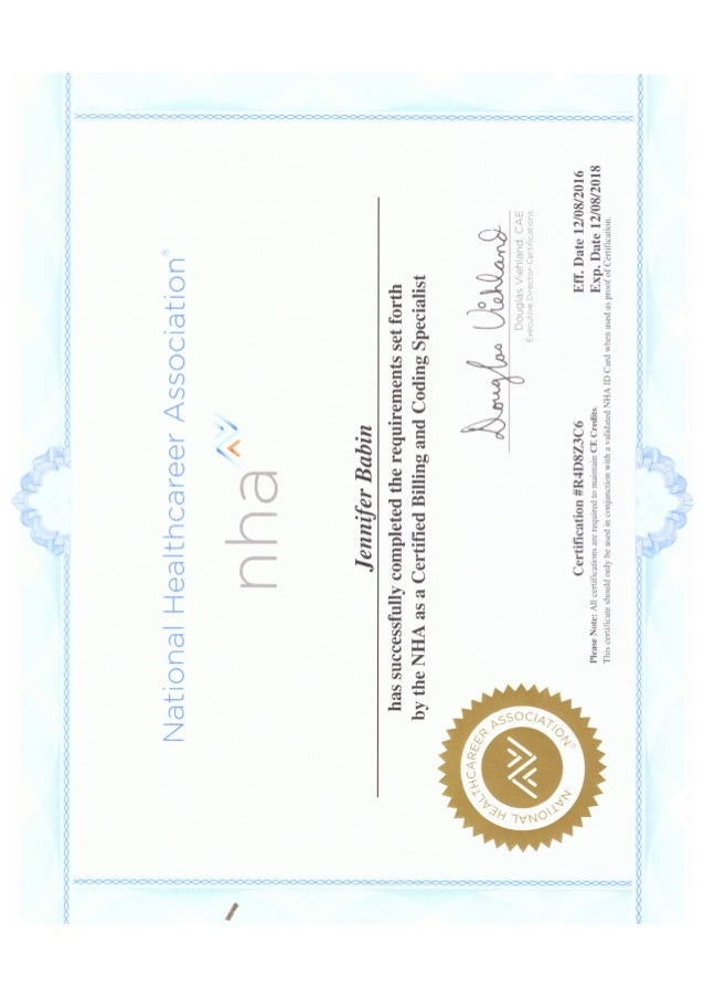 Jennifer C Babin Nha Cbcs Certificate