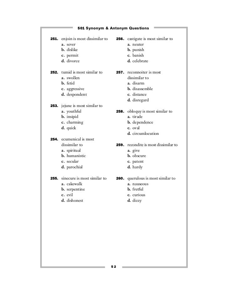 Printables 100 Words With Synonyms And Antonyms 501 synonyms and antonyms 9select the word