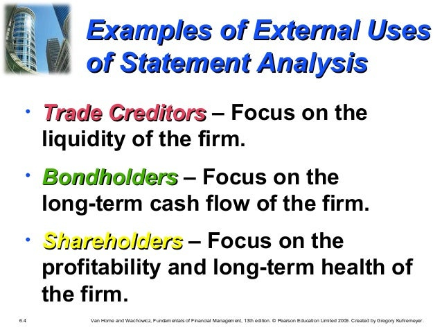 financial ratio analysis is conducted by managers equity investor long term creditors Potential buyers / investors competitors management tool for the financial analysis of an entity these ratios indicate the long term.