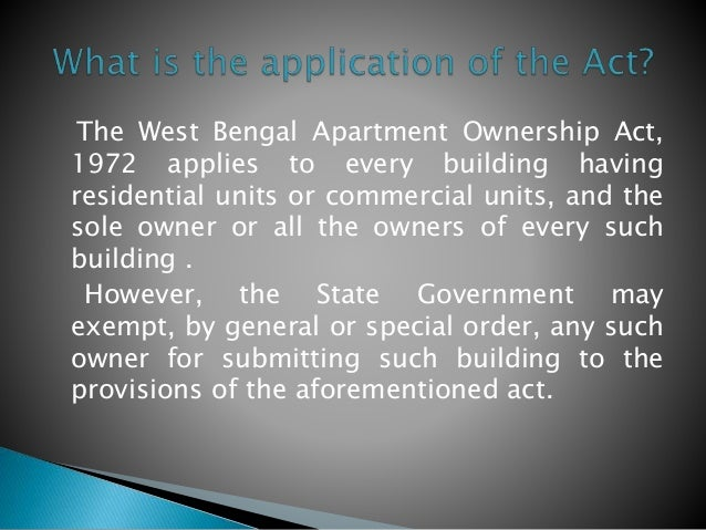 Apartment Building Ownership the west bengal apartment ownership act, 1972