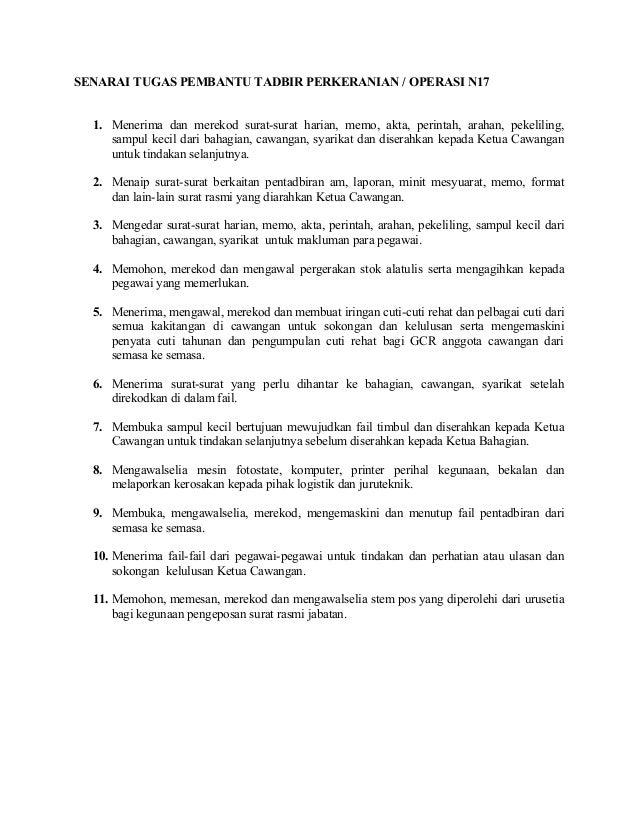 Senarai Tugas Pembantu Tadbir Perkeranian