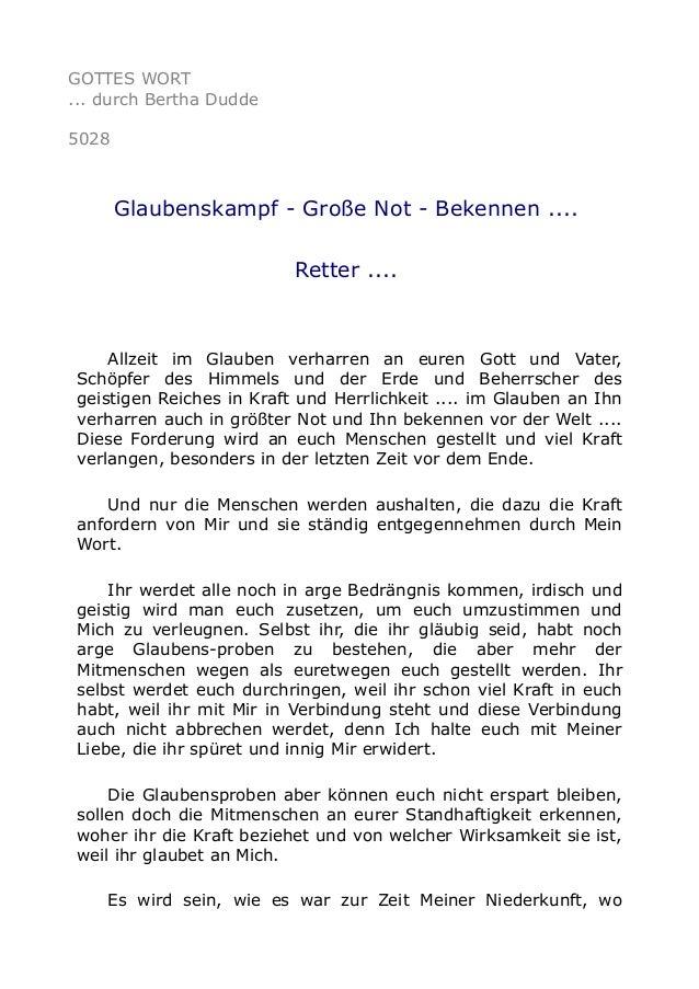 GOTTES WORT ... durch Bertha Dudde 5028 Glaubenskampf - Große Not - Bekennen .... Retter .... Allzeit im Glauben verharren...