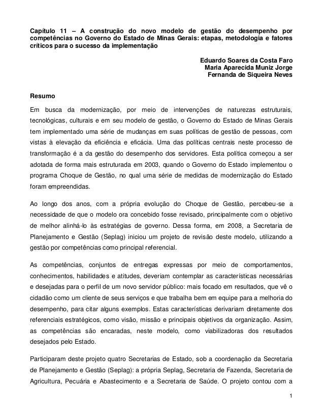 1 Capítulo 11 – A construção do novo modelo de gestão do desempenho por competências no Governo do Estado de Minas Gerais:...