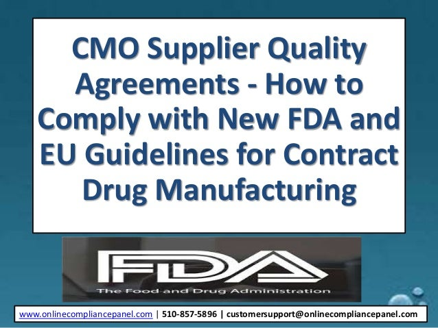 CMO Supplier Quality Agreements How To Ply With New