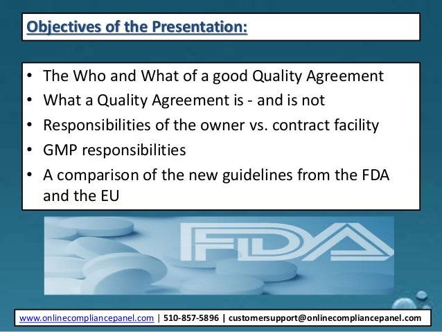 Cmo Supplier Quality Agreements How To Comply With New Fda And Eu G