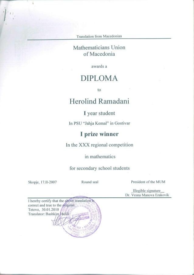 Regional mathematics competition diploma