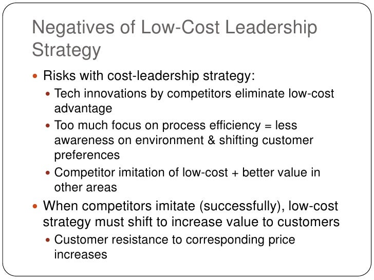 cost leadership Stockholm school of economics institute of international business course 2210, msc thesis in international business cost leadership & differentiation an investigation of the fundamental trade-off between porter's cost leadership and differentiation strategies.