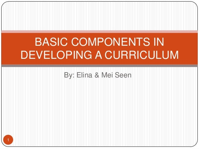 BASIC COMPONENTS IN    DEVELOPING A CURRICULUM          By: Elina & Mei Seen1
