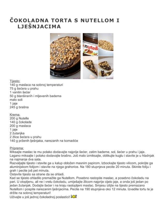 ČOKOLADNA TORTA S NUTELLOM I LJEŠNJACIMA  Tijesto: 140 g maslaca na sobnoj temperaturi 75 g šećera u prahu 1 vanilin šećer...