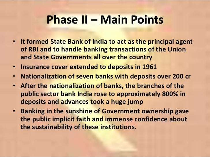 banks in india - nationalisation of banks essay Evolution of the indian banking system  establishment of banks in india  mrsindira gandhi announced the nationalisation of 14 major commercial banks.
