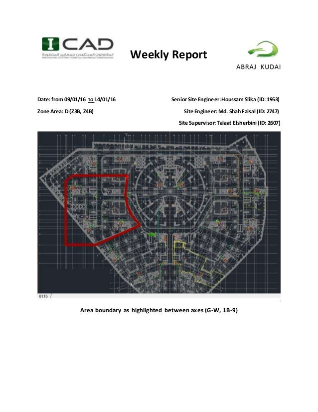 Weekly Report Date: from 09/01/16 to 14/01/16 SeniorSite Engineer:Houssam Slika (ID: 1953) Zone Area: D (Z3B, Z4B) Site En...