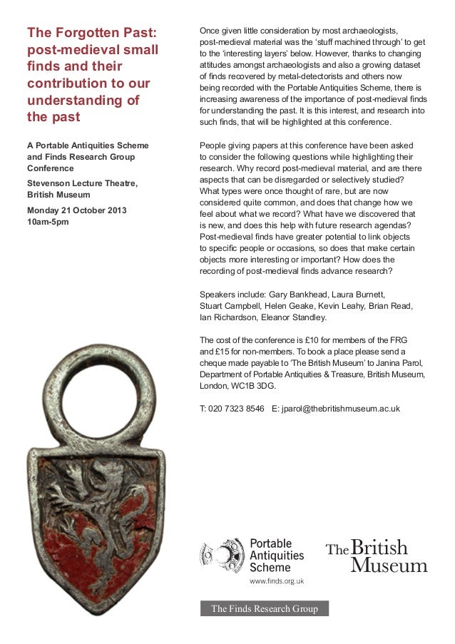 The Forgotten Past: post-medieval small finds and their contribution to our understanding of the past A Portable Antiquiti...