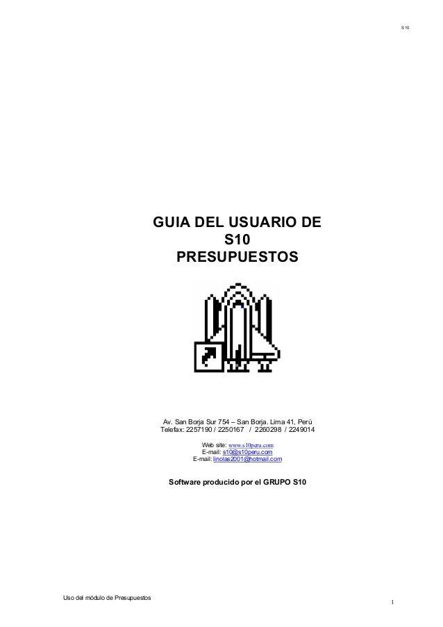 S10                                 GUIA DEL USUARIO DE                                         S10                       ...