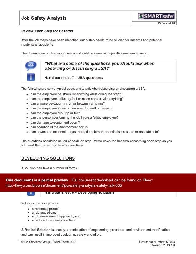 Job Safety Analysis Safety Talk – Job Safety Analysis Worksheet