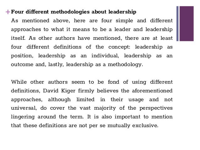 """different definitions of leadership What is leadership,  what makes this definition so different from many of the academic definitions out there is the inclusion of """"maximizes the."""