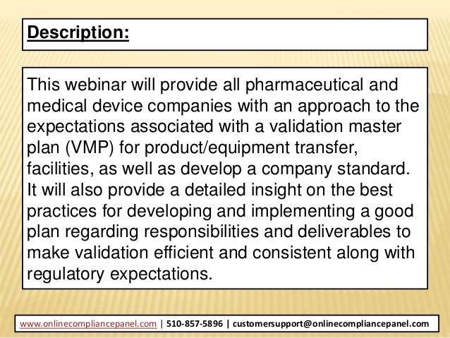 Validation Master Planning and Regulatory Expectations Slide 3